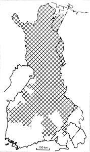 alue, jossa syötiin normaalivuosinakin pettua. Perustuu Suomen Talousseuran tiedusteluihin 1800-l alkupuolelta. Korhonen 1987, Kuisma 1997142_1